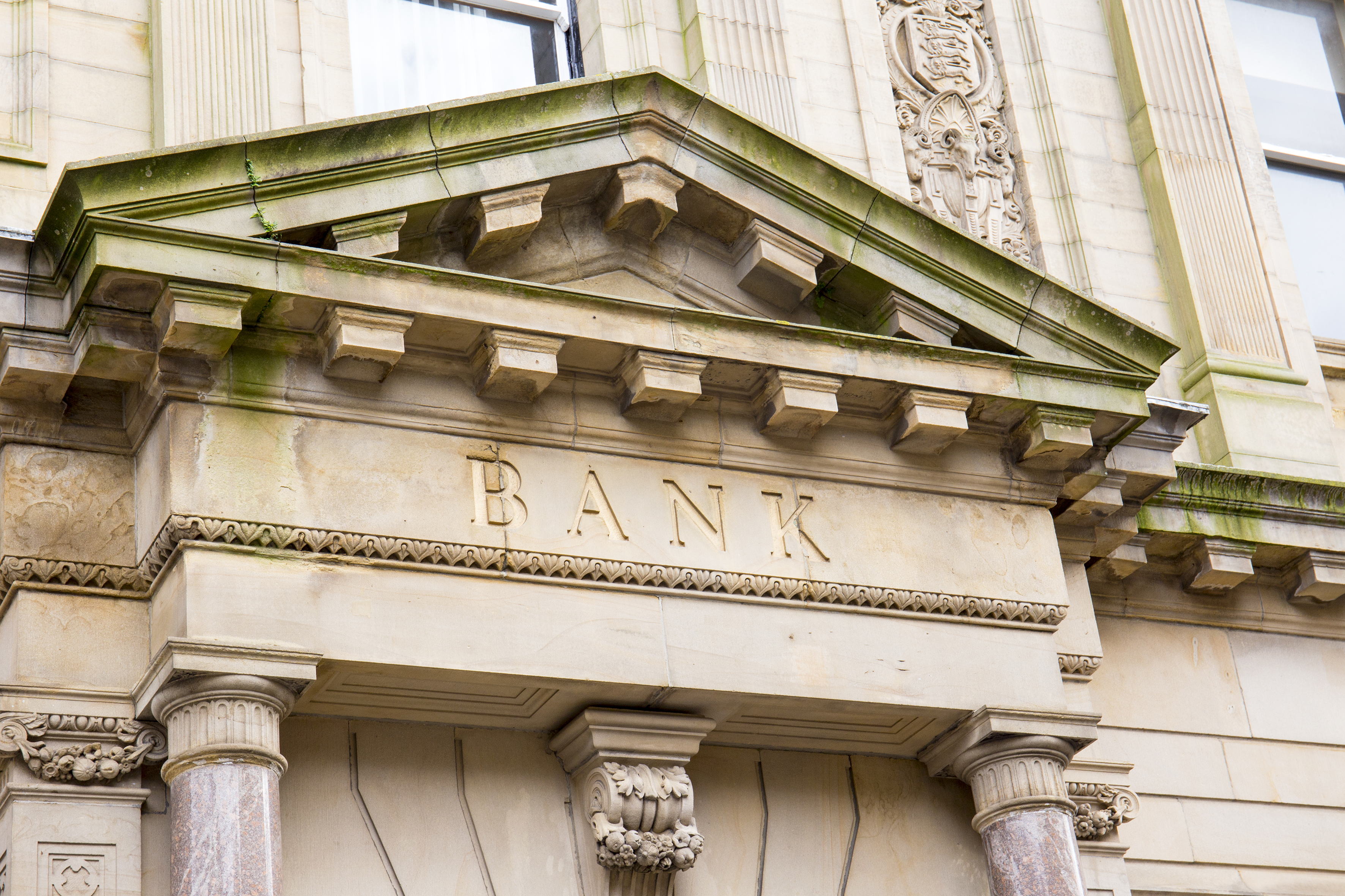 Front of a bank building.