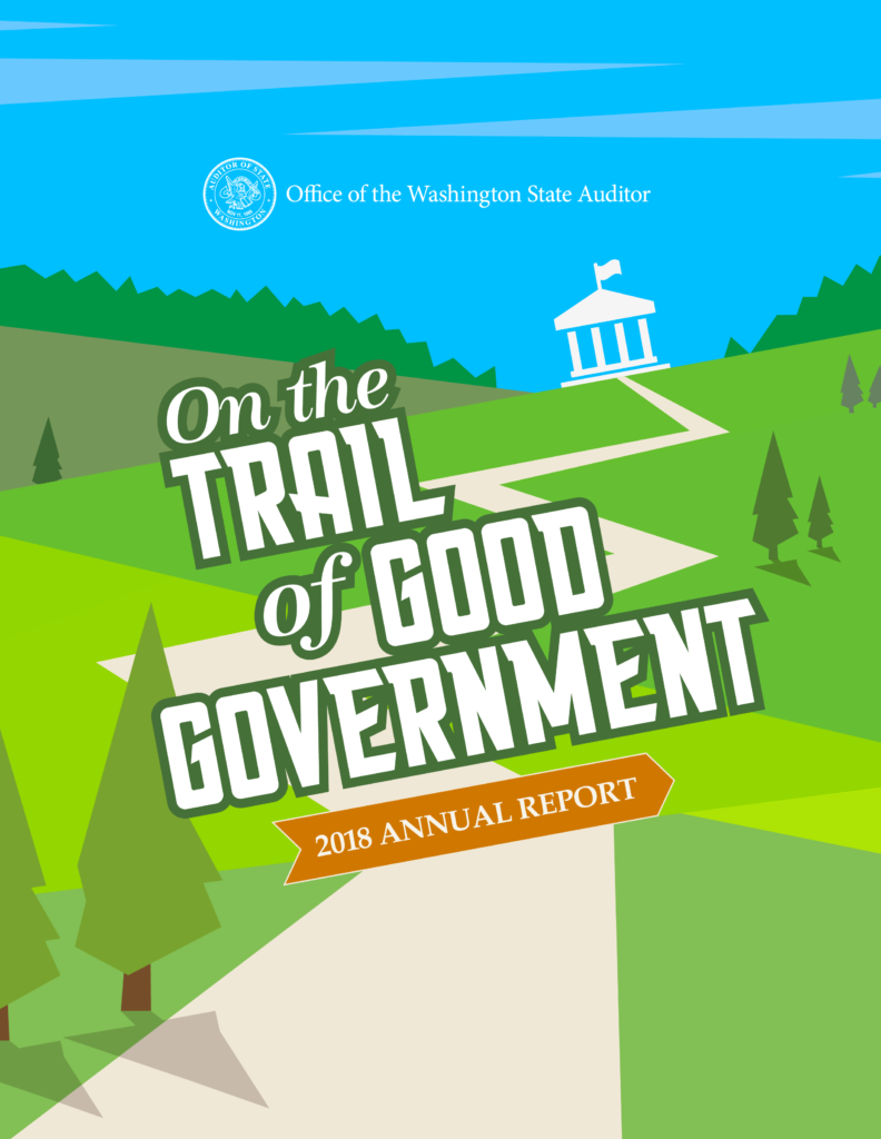Cover of 2018 Annual Report shows a trail leading to a government building.