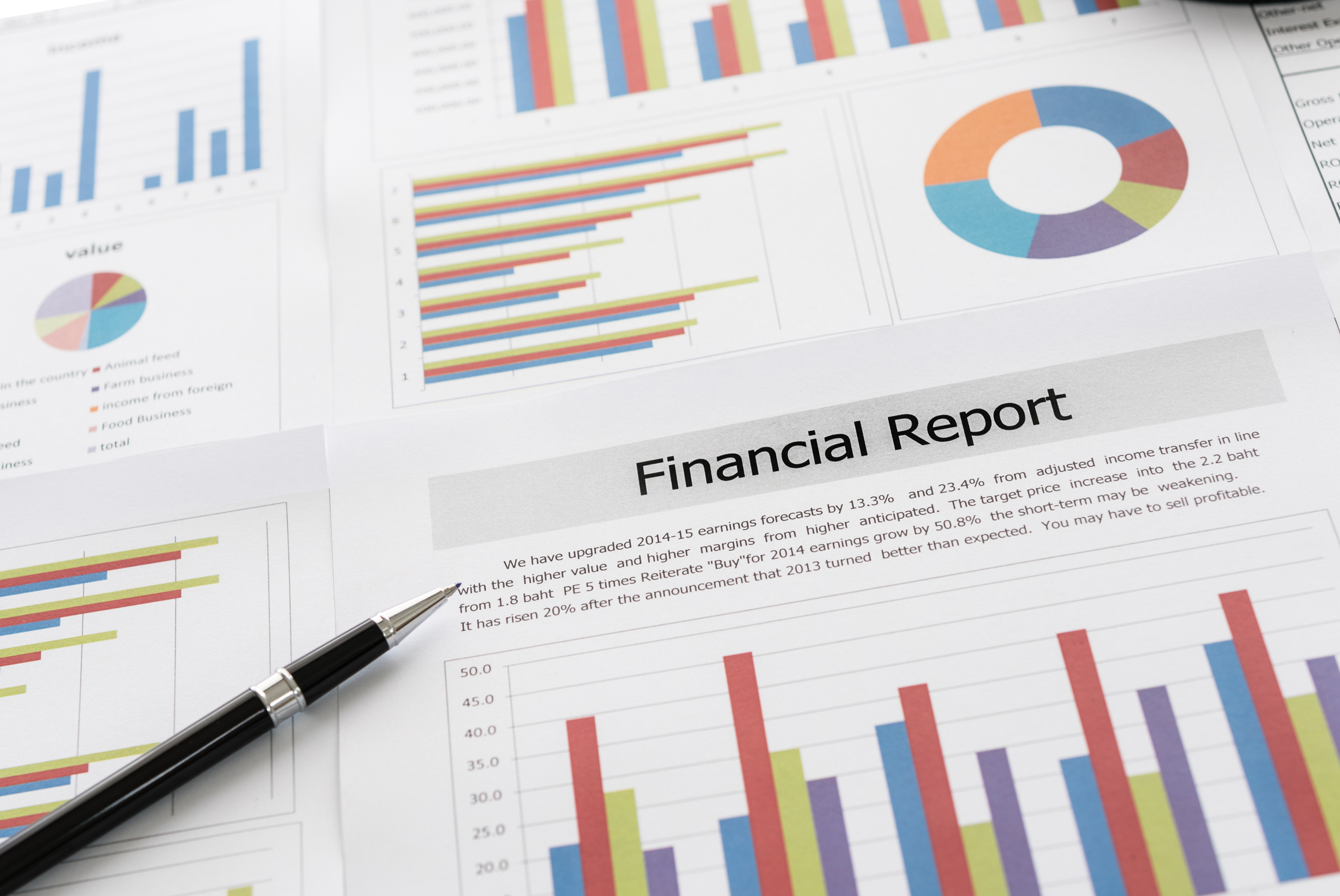 Financial graphs and charts report with pen on desk of business advisor. financial and accounting report concepts.