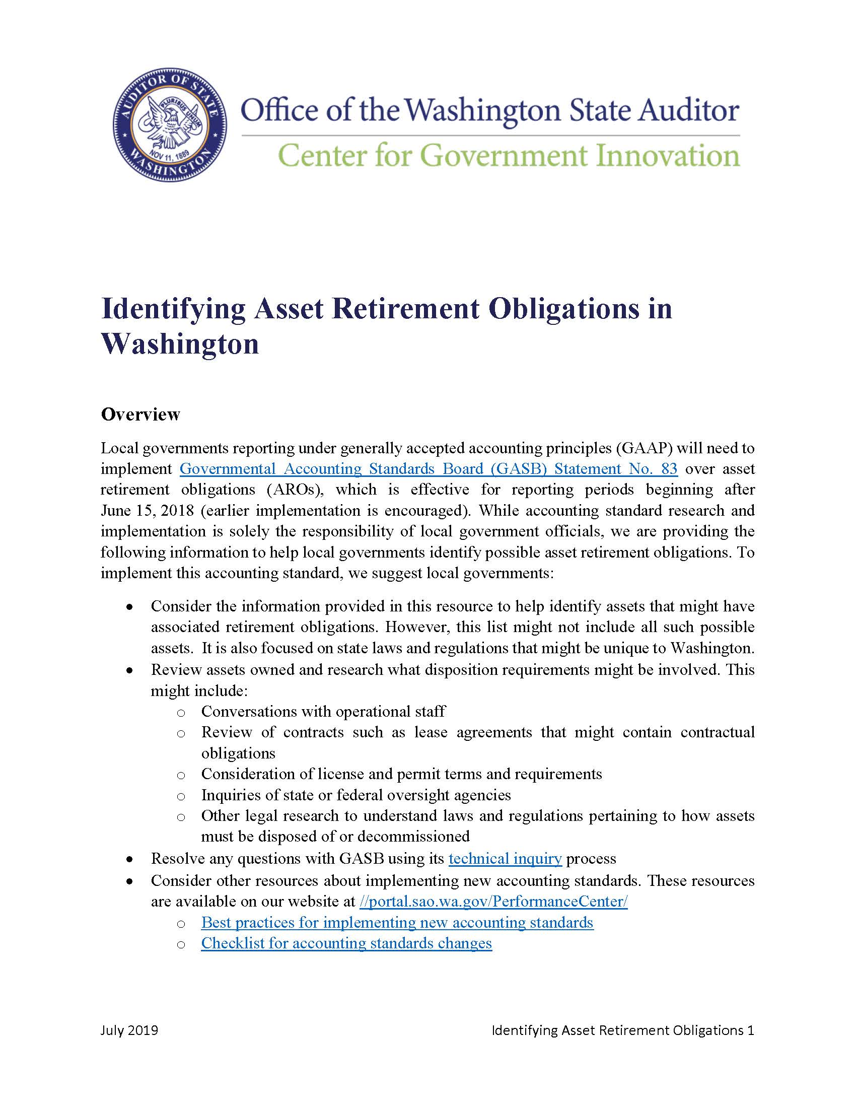 First page of new resource about identifying asset retirement obligations