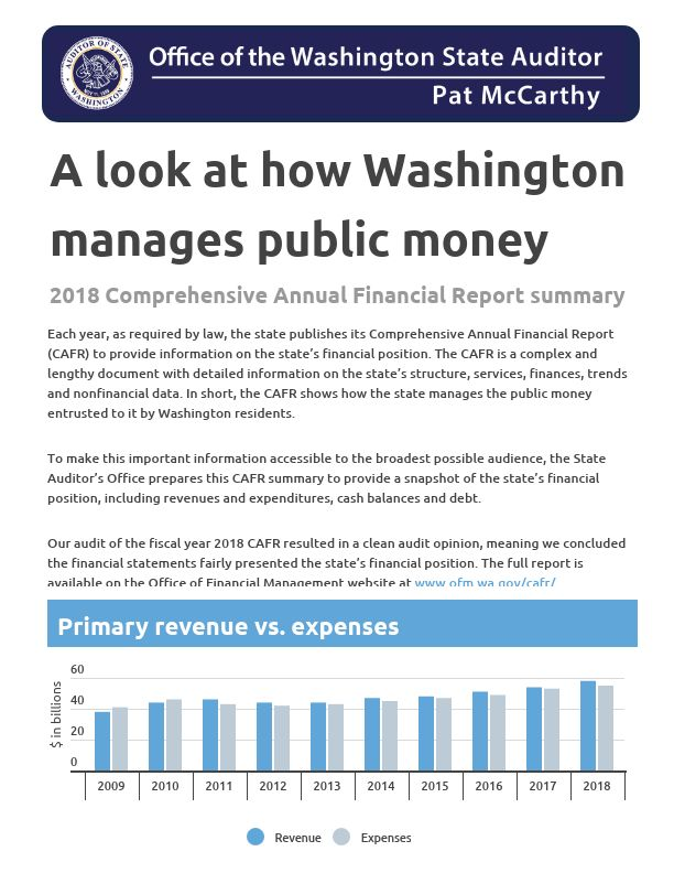 The first screen of the summary infographic of the 2018 Comprehensive Annual Financial Report for the state of Washington.