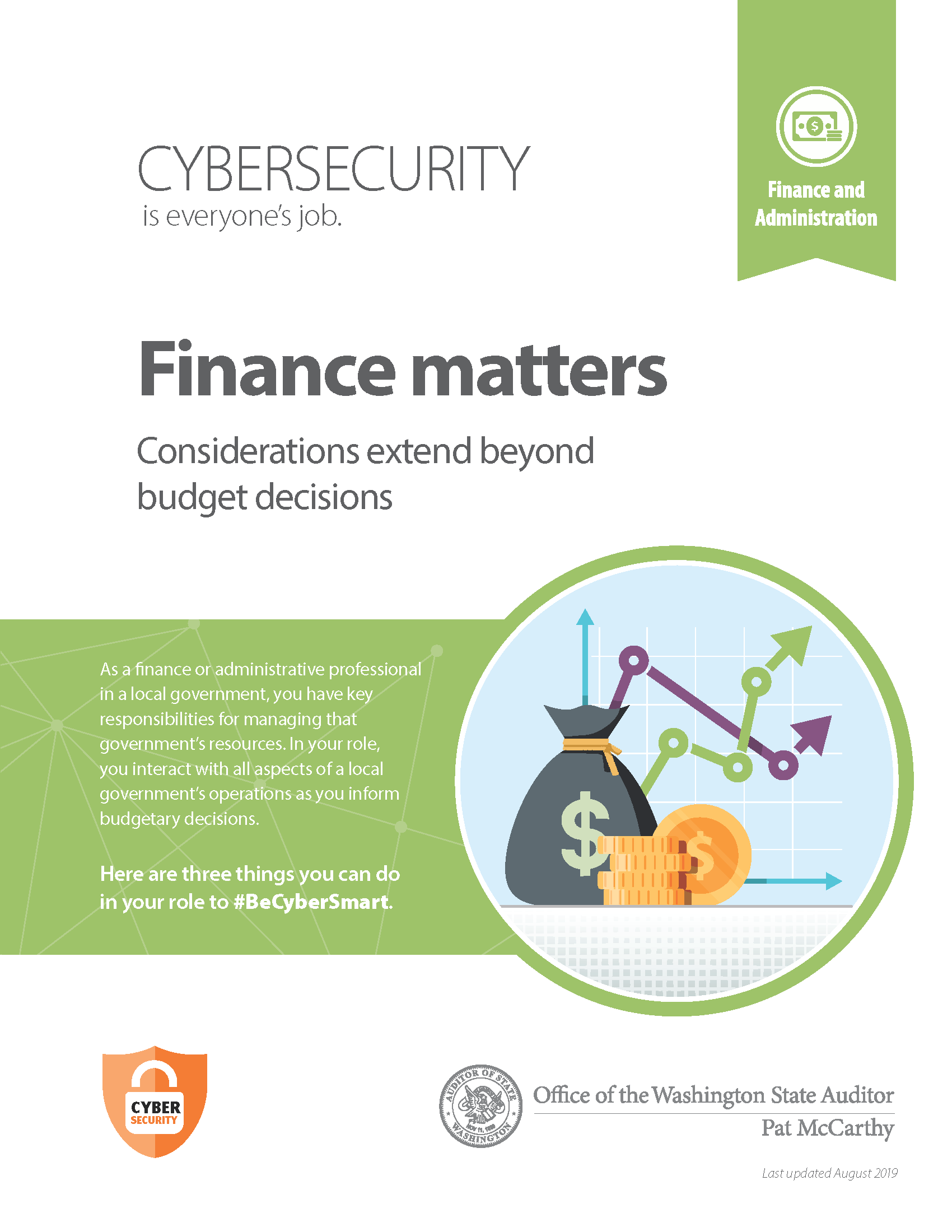 Cover of cybersecurity resource for finance and administration professionals in local government