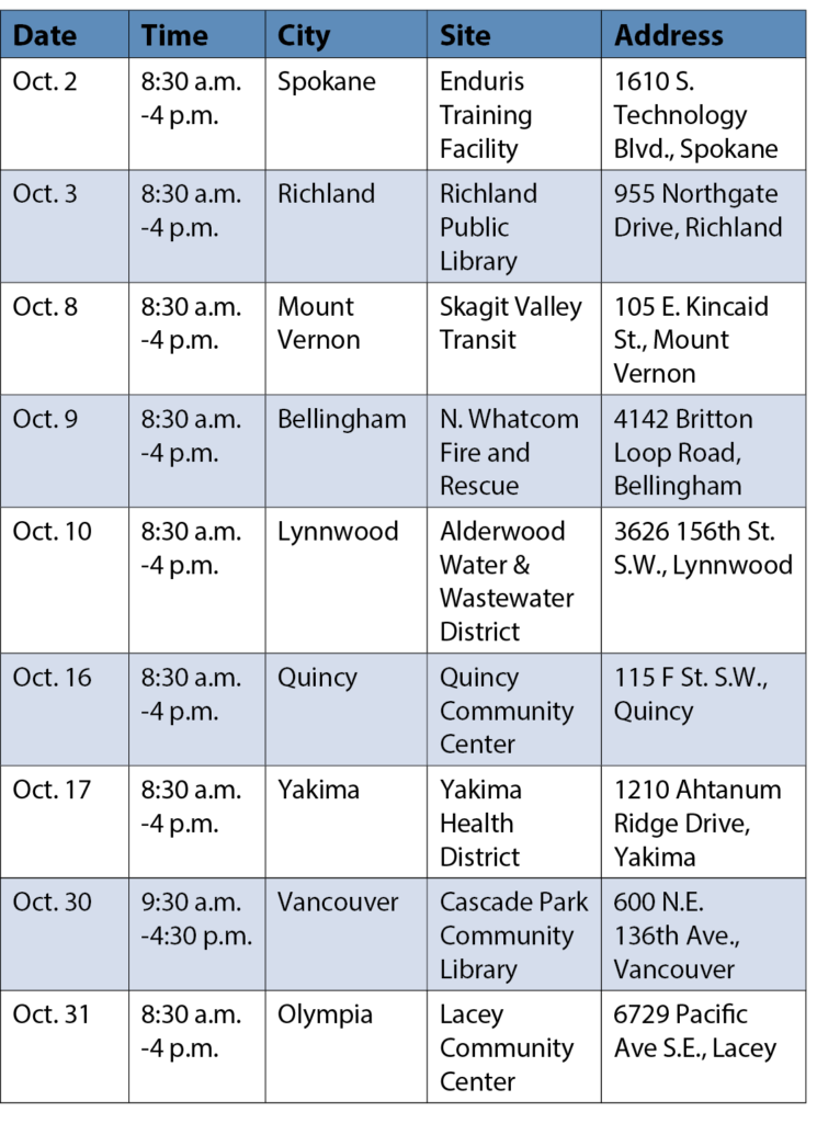Table of dates and locations for SAO Roadshow in fall 2019