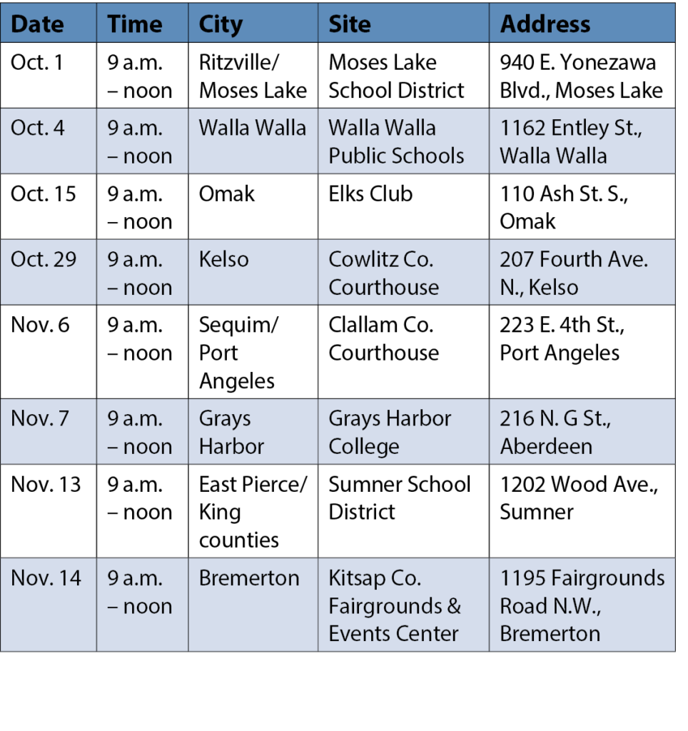 Table of Center for Government Innovation outreach events in fall 2019
