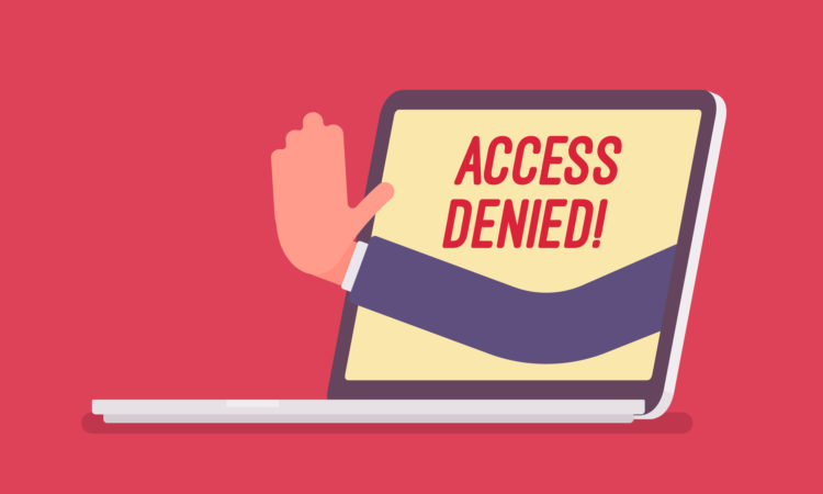 "Message on computer screen saying ""access denied"""