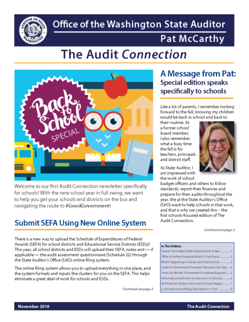 Cover of Audit Connection newsletter on K-12 issues