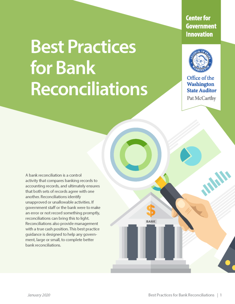 Cover of Best Practices for Bank Reconciliations guide, with hand holding magnifying glass looking at a report.