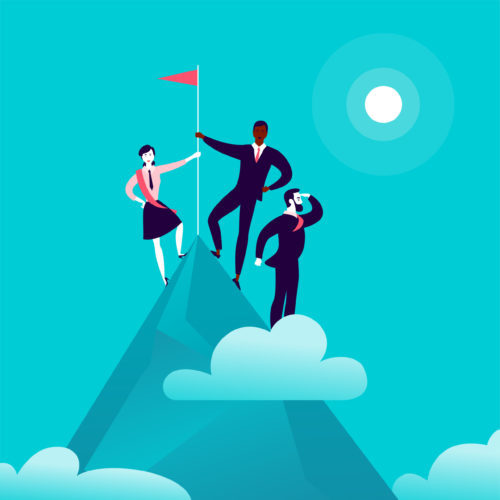 Illustration with business people standing on mountain peak top holding flag on blue clouded sky background.