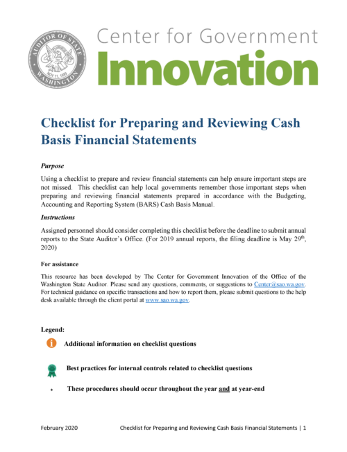 "Cover of ""Checklist for Preparing and Reviewing Cash Basis Financial Statements"""