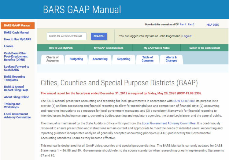 Screenshot of main page of online BARS Manual for GAAP governments