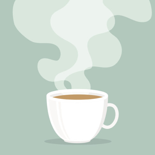 Coffee cup with smoke floating up