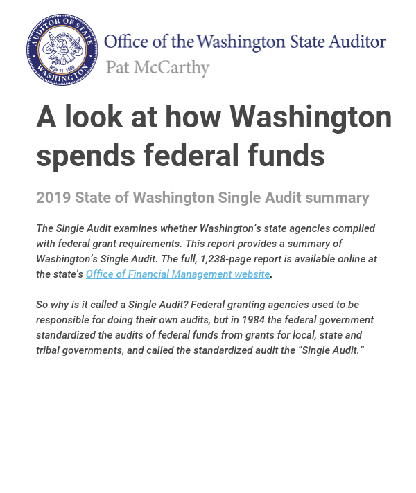 Cover of the 2019 State of Washington Single Audit