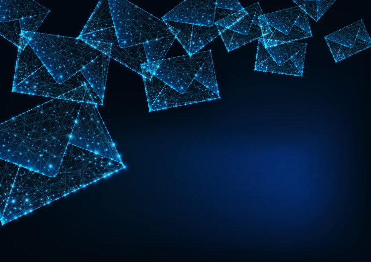 Futuristic glowing low polygonal mail envelopes made of lines, dots, light particles and copy space for text on dark blue background.