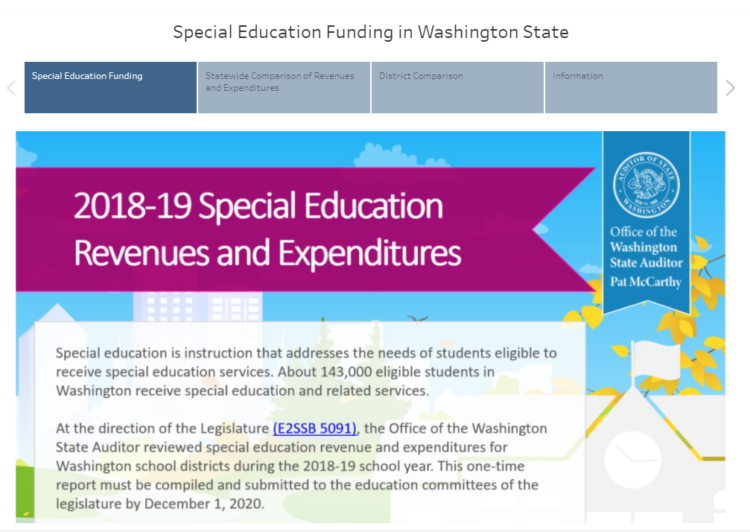 Data visualization of 2018-19 special education revenues and expenditures
